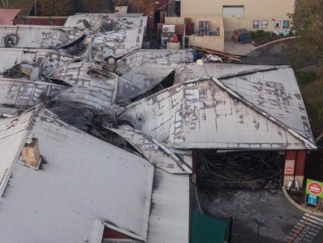 fire damage to pub roof